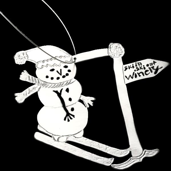 Christmas ornament snow man on skiis kids drawings on ornament