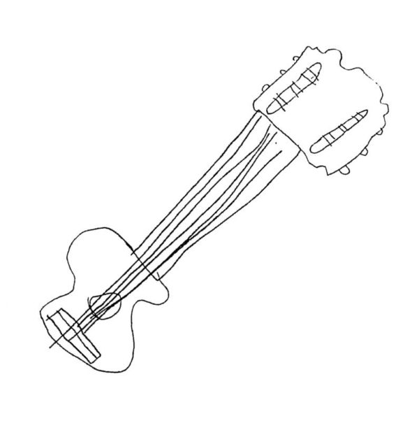 silver book mark guitarr drawing, kids art piece tranformed into a useful gift for parents