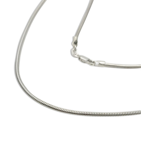 snake chain thick 1.5mm sterling silver fits perfect with our larger size pendants smooth and sleek look for the hip woman