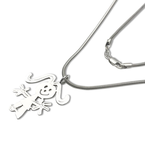 snake chain thick with pendant created by hand after your kids doodles and sketches