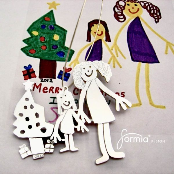 sterling silver Christmas ornament with your child's drawing
