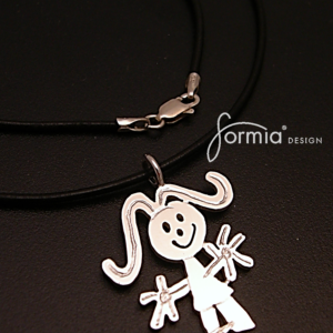 A modern black leather cord chain for that denim wearing woman with a young attitude. A chain that will complement any pendant or charm designed by your own children.