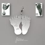 silver footprint charm