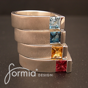 Stack of colors silver ring