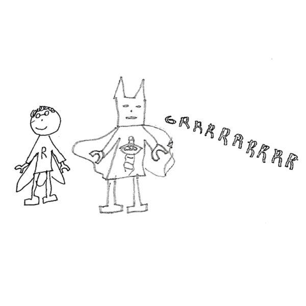 super heros tie clip drawing