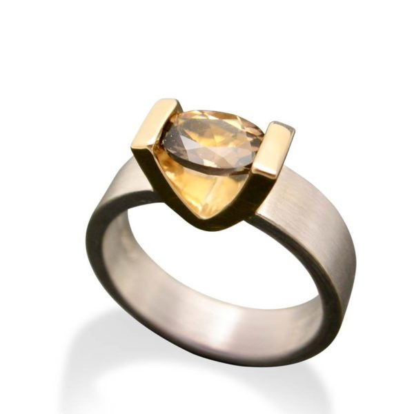 Smokey quartz V setting gold and silver ring