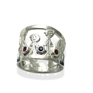 Birthstone family ring stick figures
