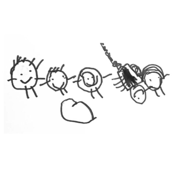 family drawing for Lapel pin
