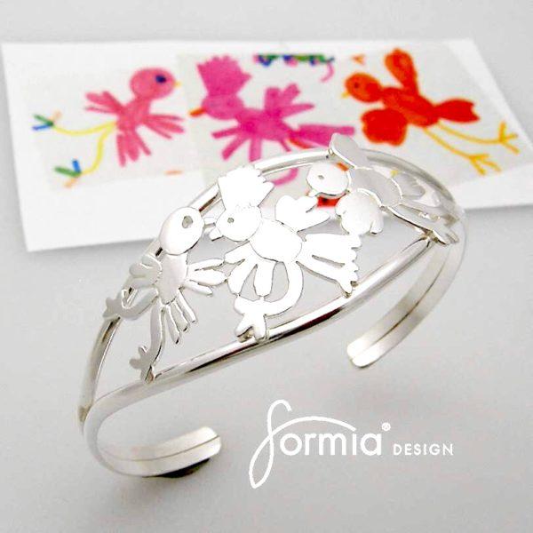 Elegant cuff bracelet 3 birds