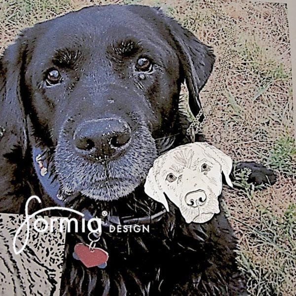 Black lab face pet photo pendant