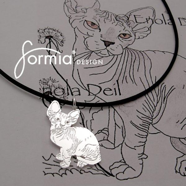 Cat drawing as pet photo pendant