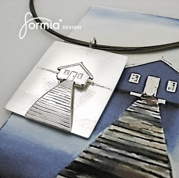 House on water painting as double layer pendant, texture of shadows