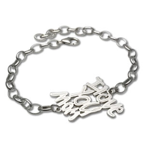 Sports bracelet with written text to mom, I love you mom captured in a sporty and cool bracelet for all mother's out there