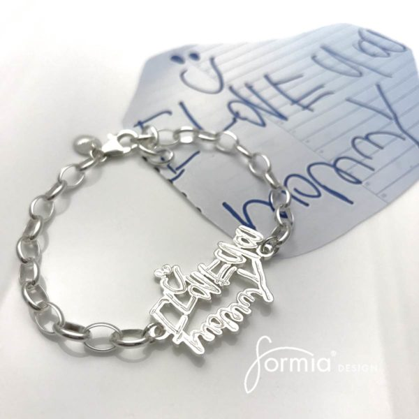 love you mommy sports bracelet with smiley face, personally wirtten note as jewelry