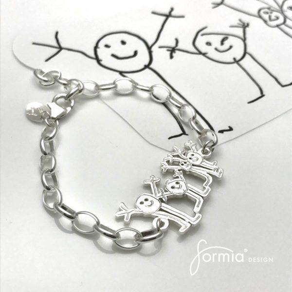 sports bracelet happy family drawing of stick figures on bracelet