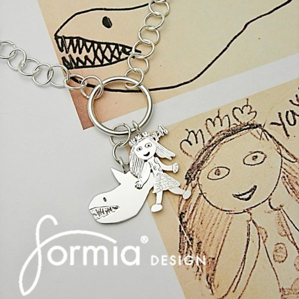 cluster of charms necklace custom made after your own kids art, fashinable necklace for the mom on the go