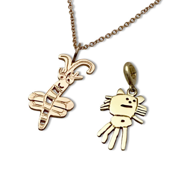 Gold charm 14k color options rose gold and yellow gold