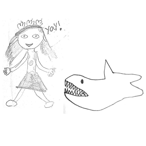 Shark and girl drawing cluster of charms in sterling silver