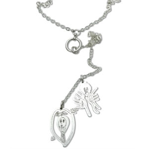 kids art lariat necklace with charms designed by children long finger figure and person in heart