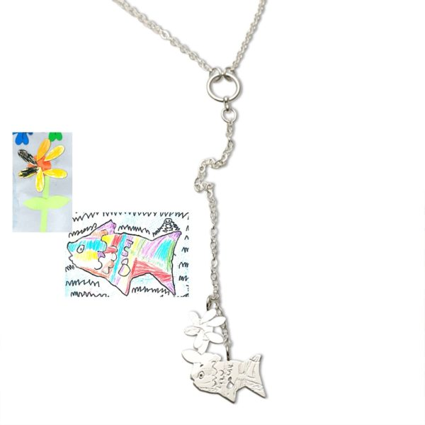 lariat necklace using colorful drawing by kids