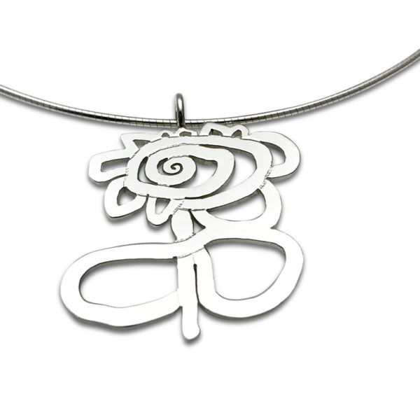Artwork pendant flower cut out style on omega chain