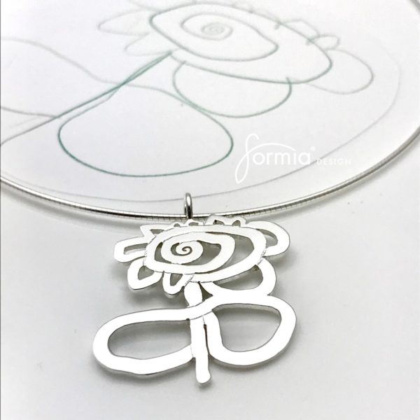 Artwork pendant flower with stem cut out medium size on omega chain