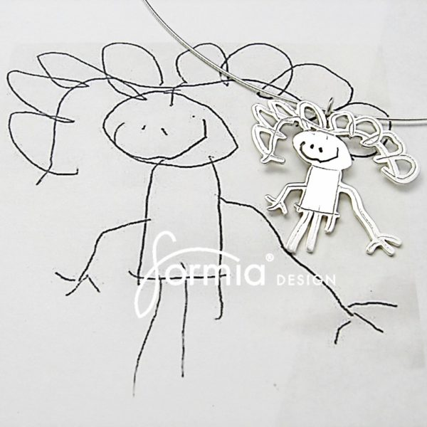 Mom as a silver pendant with omega chain