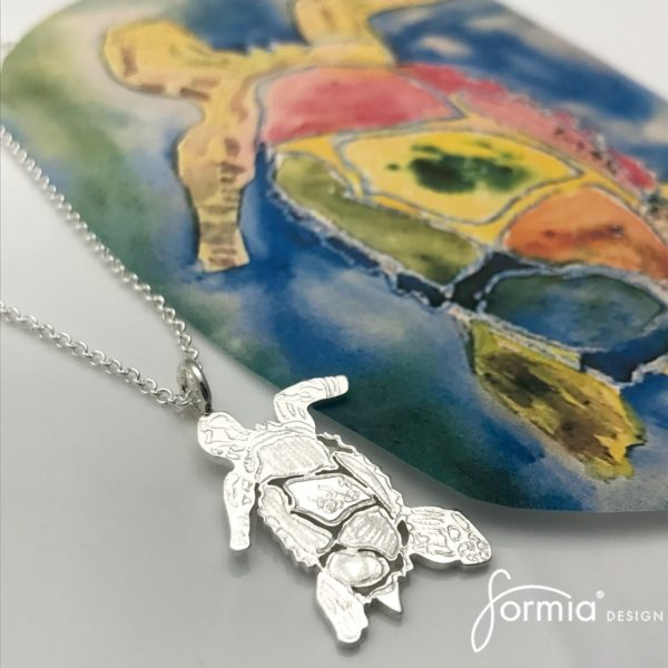 turtle artwork pendant silver from painting