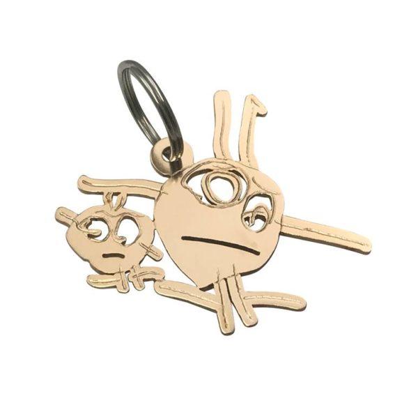Bronze key chain little stick figures