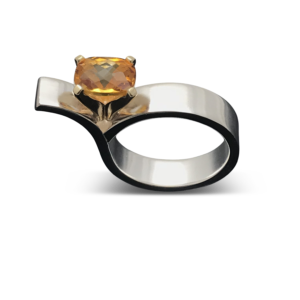 Asymmetrical Yellow Citrine Ring, Stunning and eye catching statement ring for the modern woman who LOVES the attention these rings brings to the wearer!