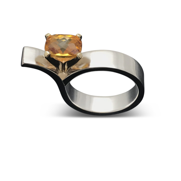 Asymmetrical Yellow Citrine Ring, Stunning and eye catching statement ring