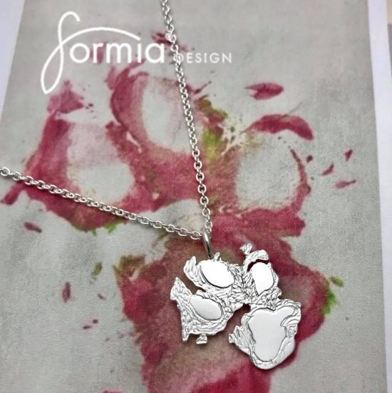 Paw print necklace product example image, your dogs paw print replicad into silver or gold