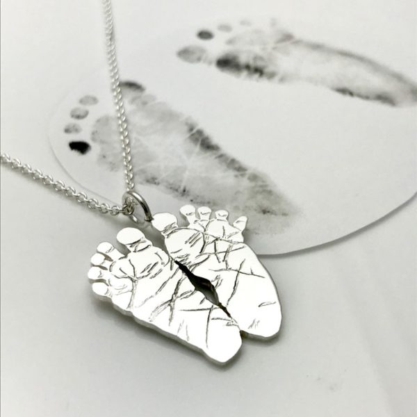 Baby foot print necklace for new mom