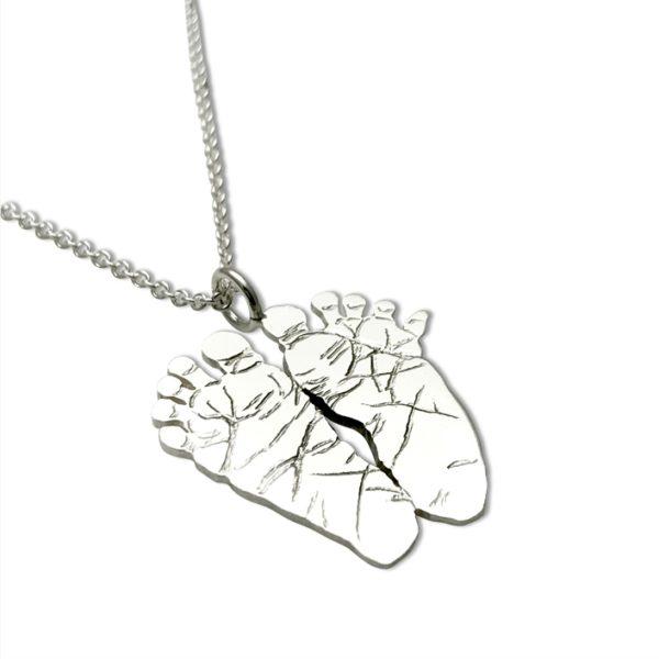 foot print necklace baby foot print necklace, baby feet as a silver necklace