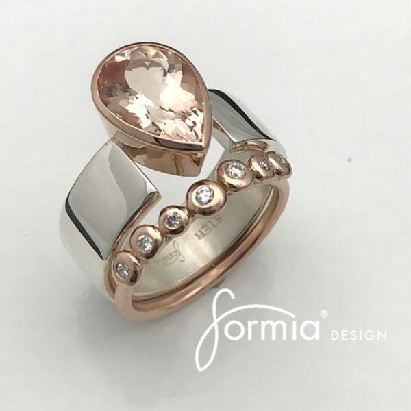 Morganite ring , rose gold and Tavia metals diamond band