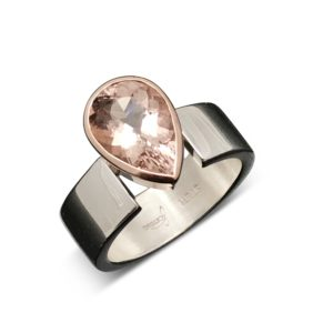 Morganite rose gold drop ring Modern and exceptionally beautiful, sterling silver band holds the setting in solid 14k rose gold with a pear faceted cut Morganite. The colors are fantastic together!
