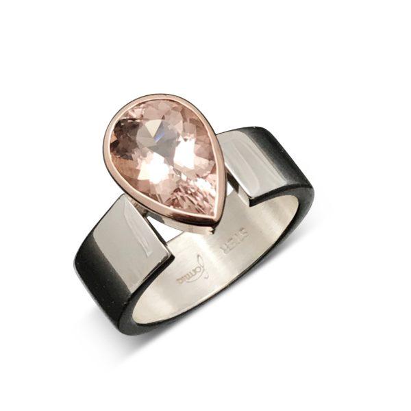 Morganite rose gold drop ring