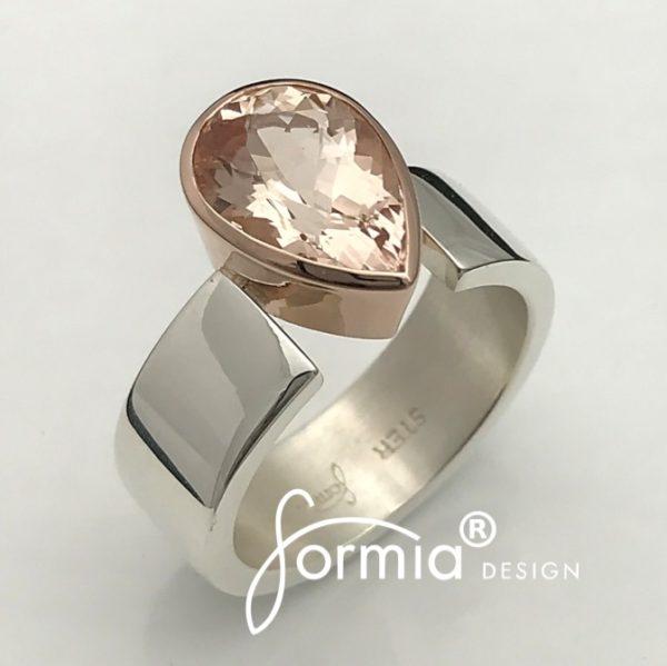 Pear cut Morganite ring silver and rose gold
