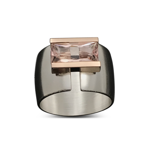 Pink Line Across Ring, rose gold setting on wide silver ring