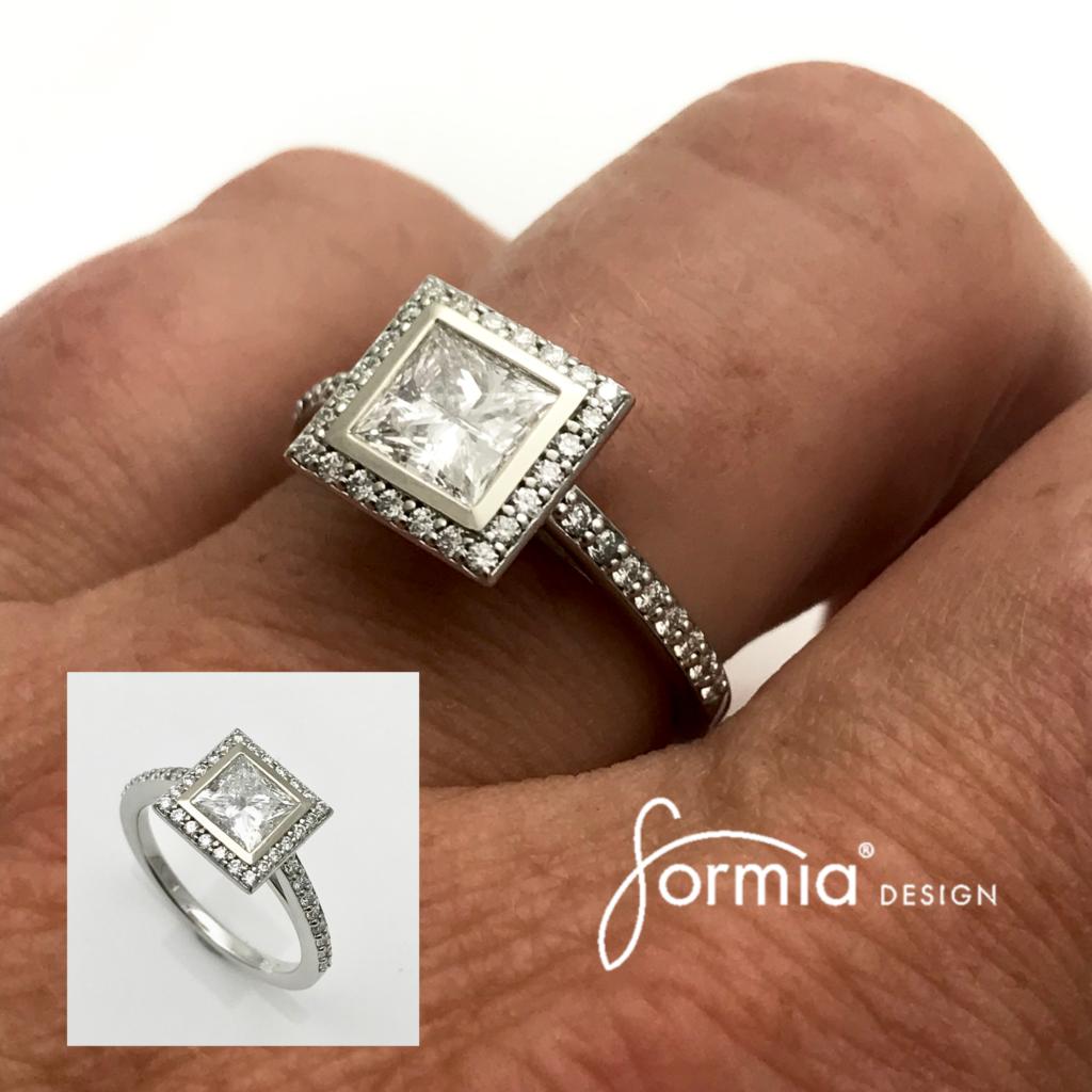 Princess cut diamond engagement ring square halo