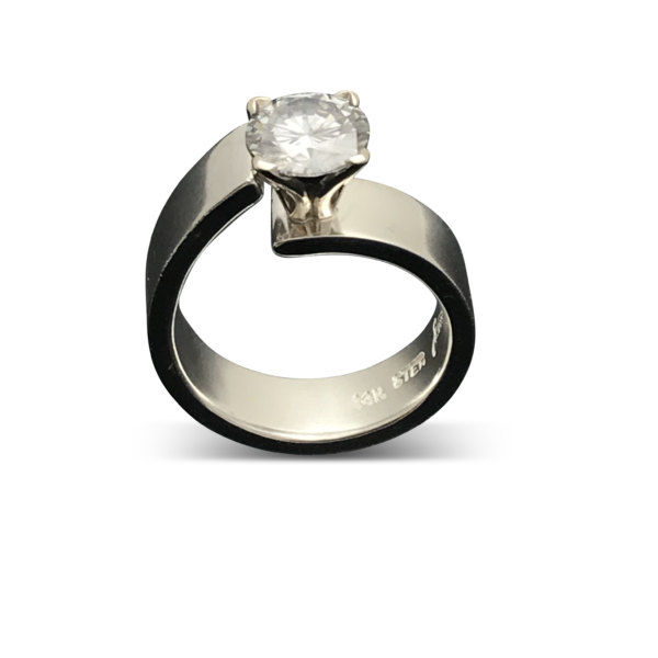 Unlined Classic Moissanite Ring  siler and white gold
