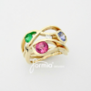 Wave ring design 14k yellow gold birthstone ring from 4 grandchildren's different months pink tourmaline October Emerald May sapphire september and diamond