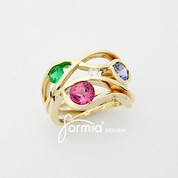 Wave ring design 14k yellow gold with birthstones and diamond