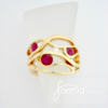 Wave ring design 14k yellow gold with rubies and one diamond
