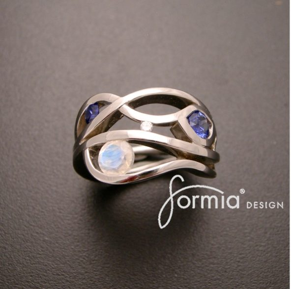 Wave ring design Platinum and birthstone sapphire, moonstone and diamond