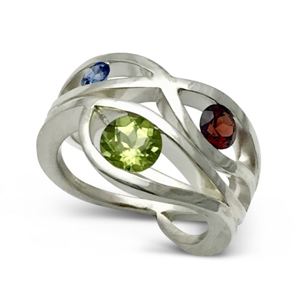 Wave ring design with 3 birthstones sterling silver