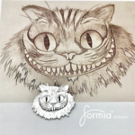super job cat face small pendant after detailed pencil drawing