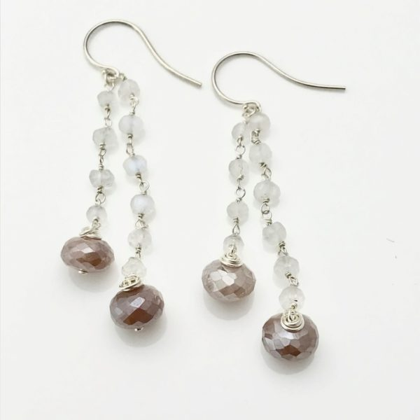 Earrings pink mystic moonstone and white