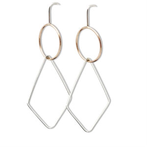 Rhombus earrings geometric design collection earrings dangle silver and rose gold