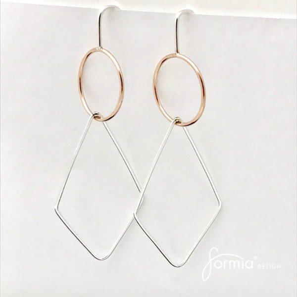 Rhombus earrings geometric design collection fine jewelry earrings